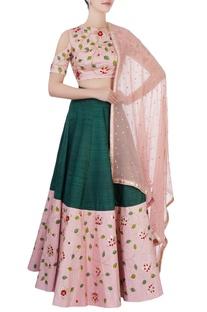 Pink & green embroidered lehenga set