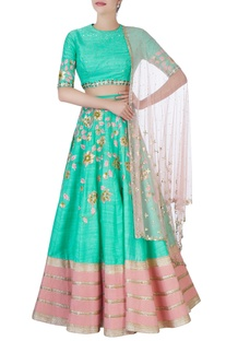 Sea green & pink embroidered lehenga set