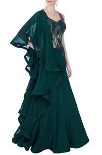 Dark green sequin embellished gown