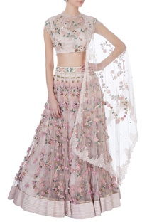 Rose pink rose embellished lehenga set