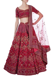 Red laser cut rose motif lehenga set