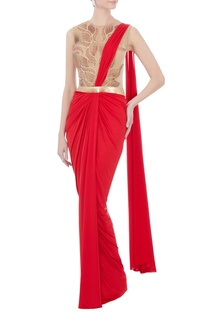 Red & beige sari gown