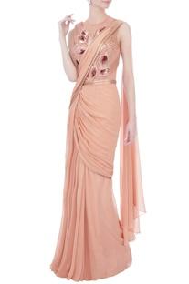 Rose pink chiffon sari gown