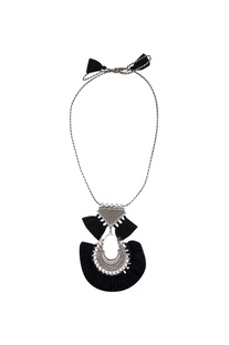 Black tasseled matinee necklace