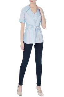 Sky blue cotton satin zipper detail blouse