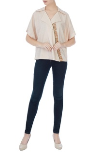 Beige poly-cotton sequin embellished blouse