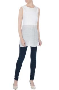 White cotton linen long blouse with sequins