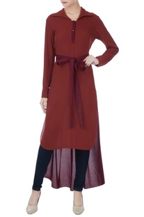 Maroon polyester & chiffon high-low top