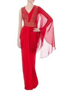 Red chiffon bead embroidered draped sari gown