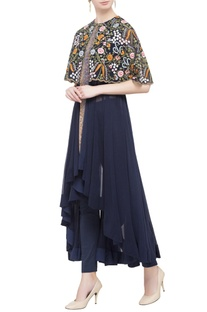 Navy blue chintz embroidered cape dress