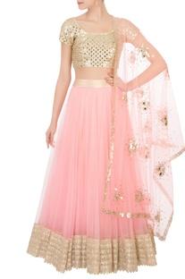 Pink flared net lehenga with blouse