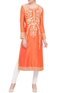 Orange chanderi gota embroidery kurta