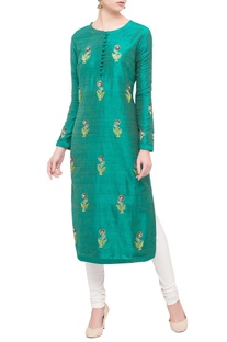 Teal green raw silk zardozi kurta