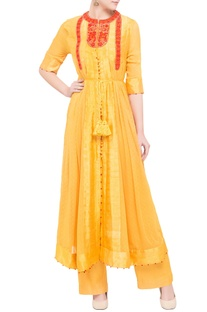Yellow georgette & viscose silk thread work kurta set