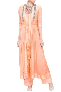 Peach georgette & viscose silk thread work kurta set