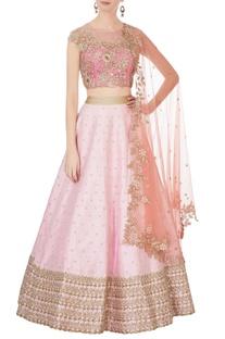 Pink raw silk lehenga & blouse
