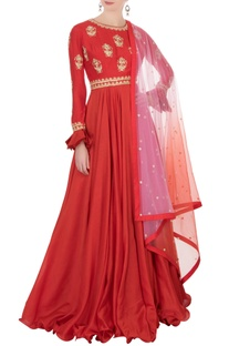 Red embellished anarkali set