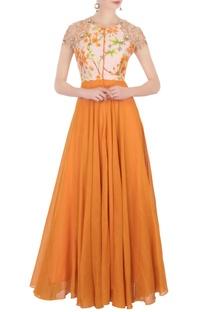 Orange printed anarkali & churidar pants