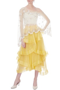 Yellow ruffle layered midi skirt