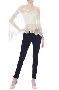 Cream chiffon cape with embellished floral motifs