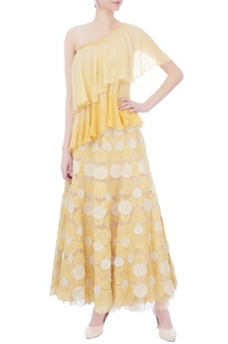 White & yellow applique flared skirt