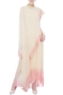 Beige & pink chiffon cape tunic