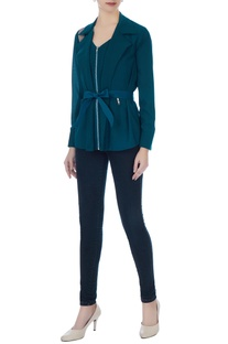 Teal green polyester cotton exaggerated collar blouse