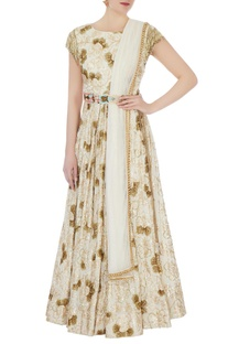 Cream gold sequin embellished anarkali with belt & stole