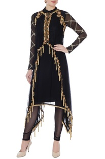 Black net asymmetric kurta with cape & leggings