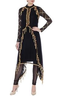 Black net asymmetric kurta with cape & leggings