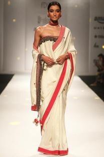 Ivory embellished sari with ruffled blouse