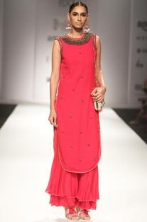 Red embellished kurta with matching sharara