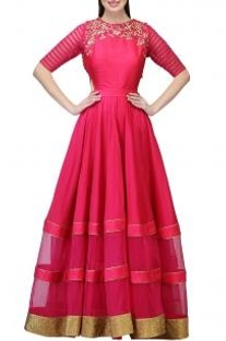Fuschia embroidered cut-out gown