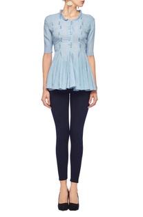 Powder blue button & loop ruffled blouse