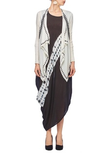 White & black tie & dye embroidered jacket dress