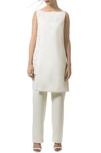 Ivory embellished layered jumpsuit