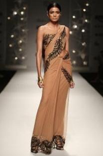 Nude & black feather sari