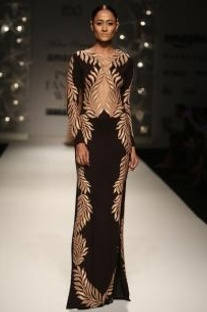 Black & beige feather column gown