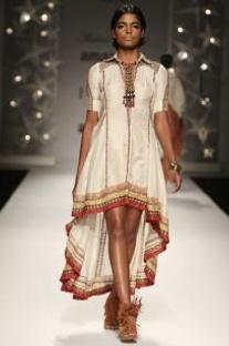 Ivory asymmetrical tribal shirt dress