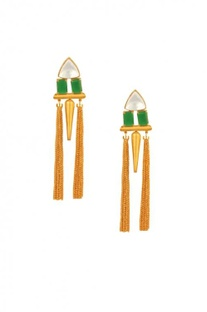 Gold plated & green stone spike dangle earrings