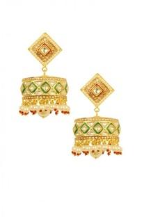 Gold plated pearl & green enamel flat jhumkas