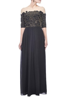 Black & gold scale embellished gown