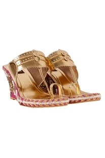 Raani & gold floral embroidered wedges