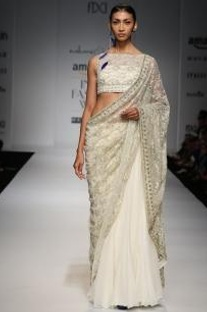 Ivory embroidered lace sharara  set with sari drape