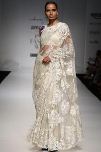 Ivory floral lace sari