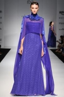 Indigo lace embroidered cape gown
