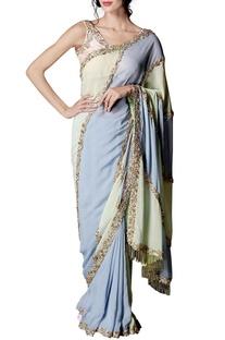 Mint green, purple & pink color blocked embellished sari