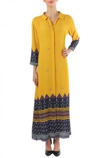 Yellow & navy blue  printed shirt dress