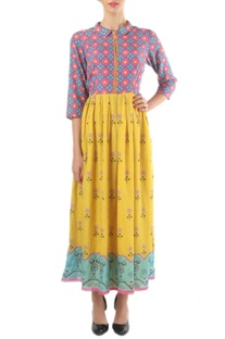 Yellow, blue & pink floral printed zippered dress