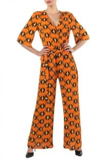 Orange geometric printed jumpsuit